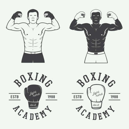 Boxing and martial arts  badges and labels in vintage style. Vector illustration Ilustração
