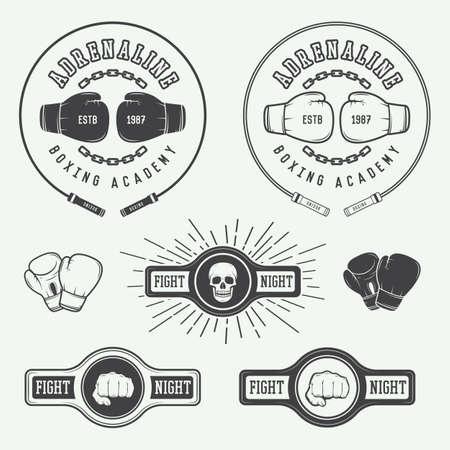 guantes de boxeo: Boxeo y artes marciales insignias y etiquetas de estilo vintage. Ilustración vectorial