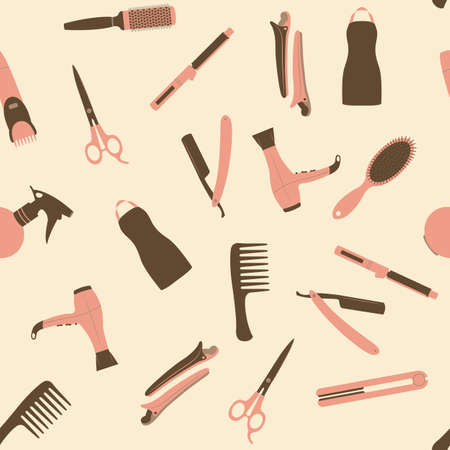 brown hair: Pink barber shop seamless vector pattern. Beauty salon flat icons.