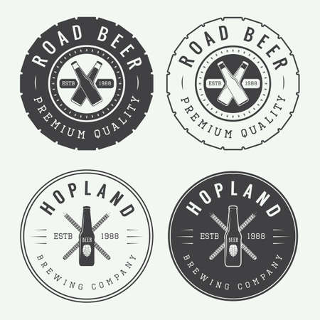 brew beer: Set of vintage beer and pub logos, labels and emblems with bottles, hops, tires and wheat