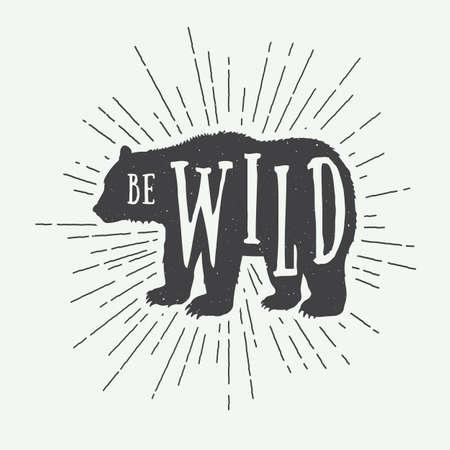 スローガンとヴィンテージのクマ。ベクトル図 写真素材 - 43695137