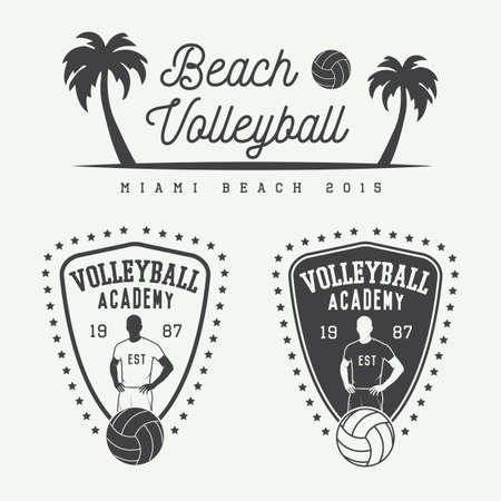 beach: Set di etichette d'epoca pallavolo, emblemi e logo. Illustrazione vettoriale