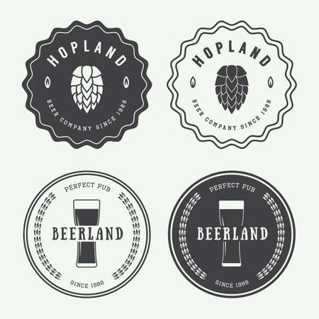 draft beer: Set of vintage beer labels and emblems