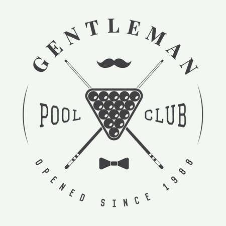 club: Vintage billiard label, emblem and logo Illustration