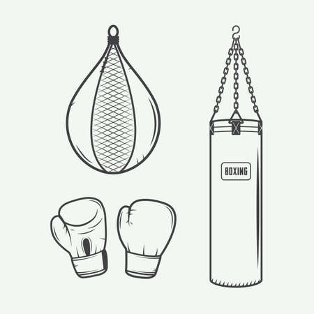 boxing equipment: Boxing and martial arts logo badges, labels and design elements in vintage style. Vector illustration