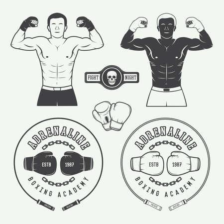 mixed martial arts: Boxeo y artes marciales insignias, etiquetas y elementos de dise�o de estilo vintage.