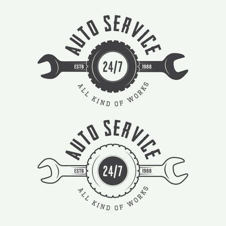 Set of vintage mechanic labels, emblems