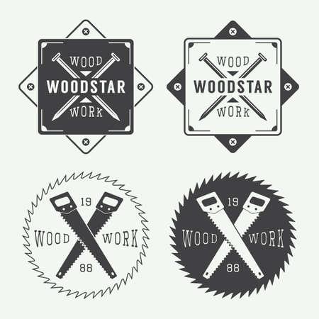 carpintero: Conjunto de etiquetas de carpintería de la vendimia