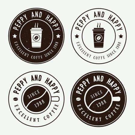 granos de cafe: Conjunto de café de la vendimia Vectores