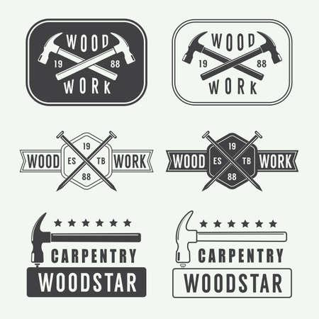 herramientas de carpinteria: Conjunto de etiquetas de carpinter�a de la vendimia