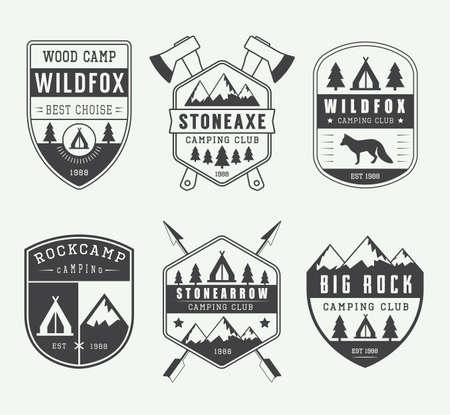 masters of rock: Set of vintage camping labels Illustration