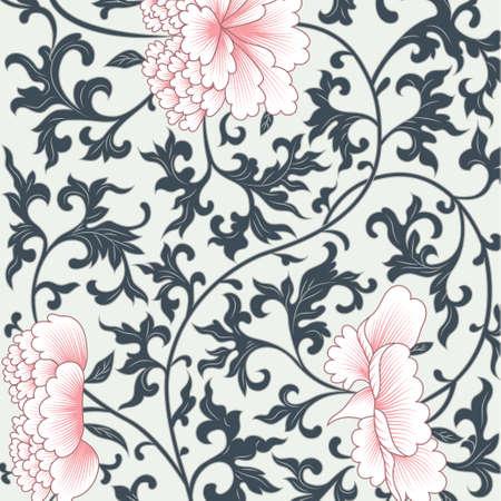 flores chinas: Vector de fondo patrón de flores en estilo chino Vectores