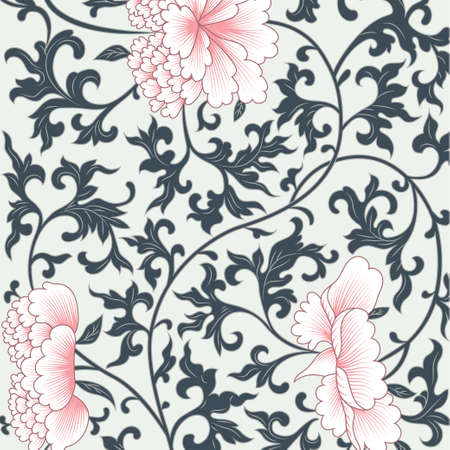 antique asian: Vector flower pattern background in chinese style Illustration