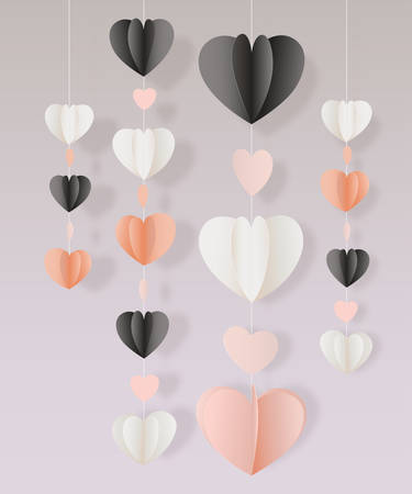 festoon: Vector paper cut hearts garland decoration card