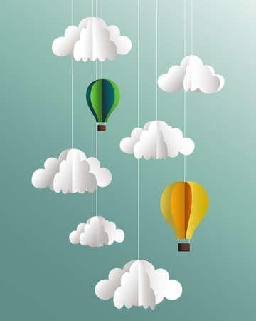 ciel avec nuages: Vector papier nuages ??et ballons