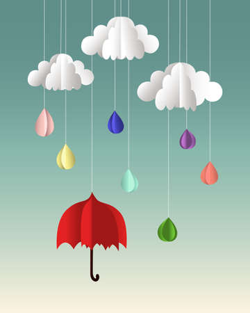 aeronautic: Vector paper cut clouds and balloons, eps 10 Illustration