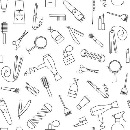 Beauty and care seamless pattern. Barber shop linear icons on white background