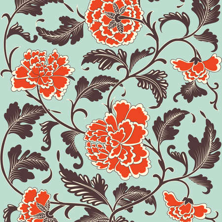 chinese border: Ornamental colored antique floral pattern. Vector illustration Illustration