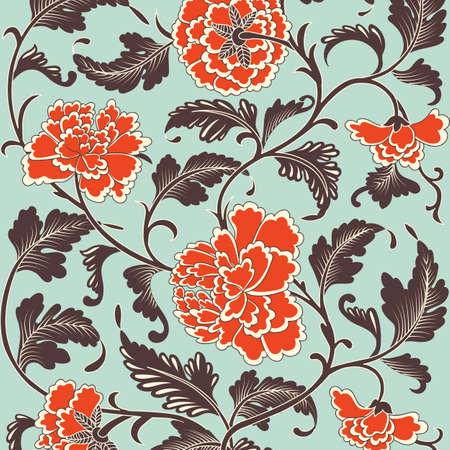 Sier gekleurde antieke bloemenpatroon. Vector illustratie Stock Illustratie