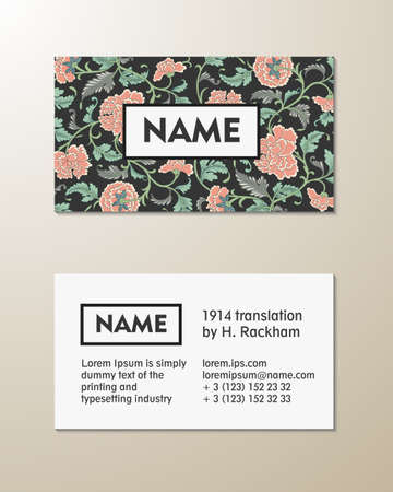 asian business: Vector floral visit card template