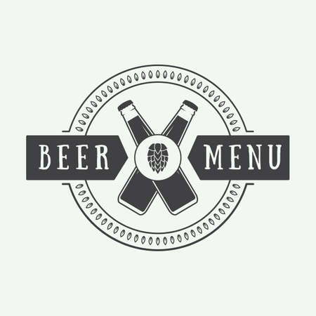 draft beer: Beer logo in vintage style. Vector illustration