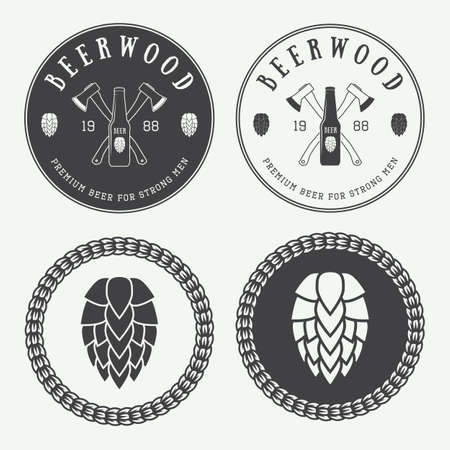 axes: Set of vintage beer and pub logos, labels and emblems with bottles, hops, axes and wheat Illustration