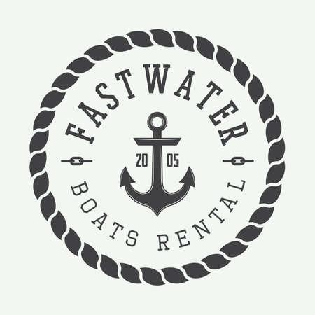 stamp seal: Set of vintage rafting or boat rental, labels and badges illustration