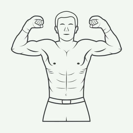 artes marciales mixtas: Boxeo y artes marciales, placa o etiqueta de ilustración de estilo vintage