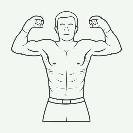 wrestler: Boxing and martial arts, badge or label in vintage style illustration