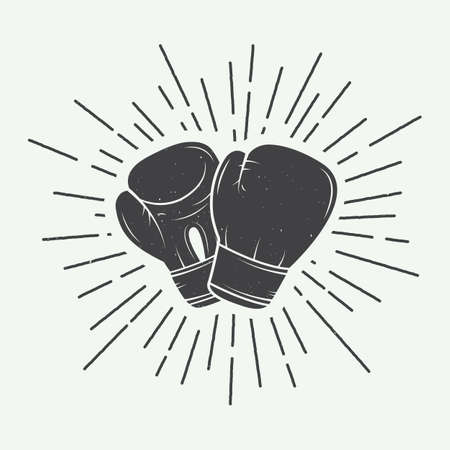 boxing sport: Boxing gloves in vintage style illustration