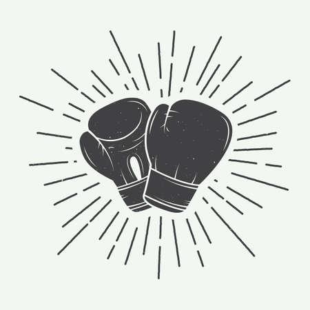 patada: Guantes de boxeo en la ilustración de estilo vintage Vectores
