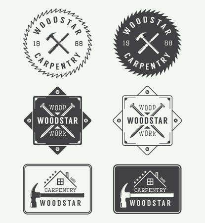 herramientas de carpinteria: Conjunto de etiquetas de la vendimia carpintería, emblemas, insignias Vectores