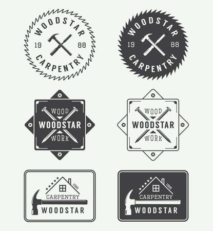 hand silhouette: Set of vintage carpentry labels, emblems, badges Illustration