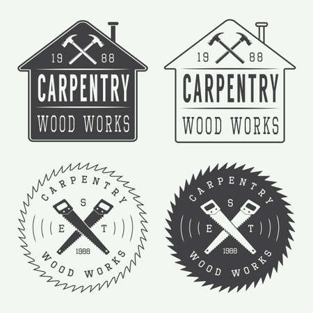 hand silhouette: Set of vintage carpentry labels, emblems