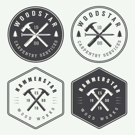 carpintero: Conjunto de la carpintería de la vendimia y las etiquetas mecánico, emblemas Vectores