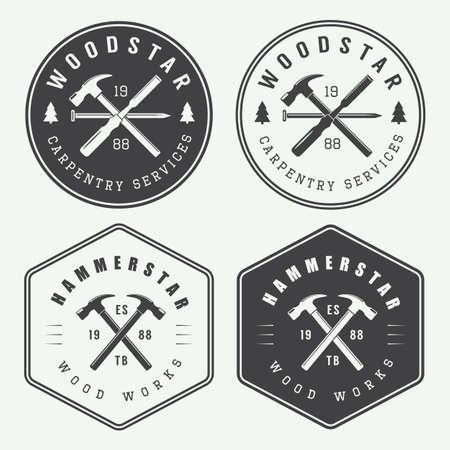 Reeks uitstekende timmerwerk en mechanische labels, emblemen
