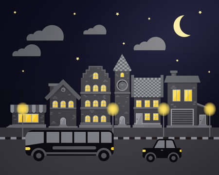 city night: Flat city night with cars and houses
