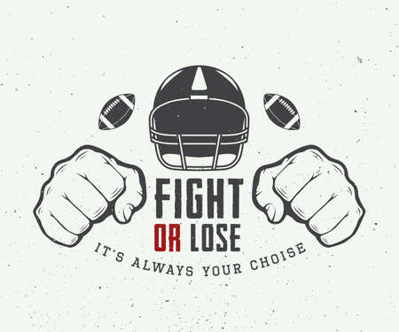 work team: American football or rugby motivation with helm, fists and ball in vintage style illustration