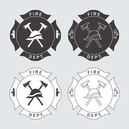 fire safety: Fire Department With Helmet And Axes
