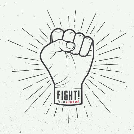 karate: Fist with sunbursts in vintage style illustration Illustration