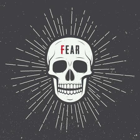 calavera: Etiqueta del cráneo de la vendimia, ilustración emblema