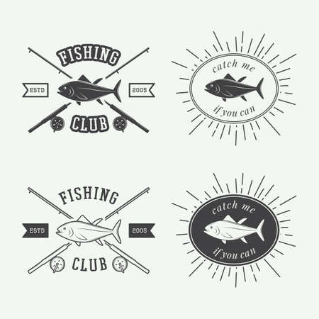 fishing boats: Set of vintage fishing labels badge and design elements Illustration
