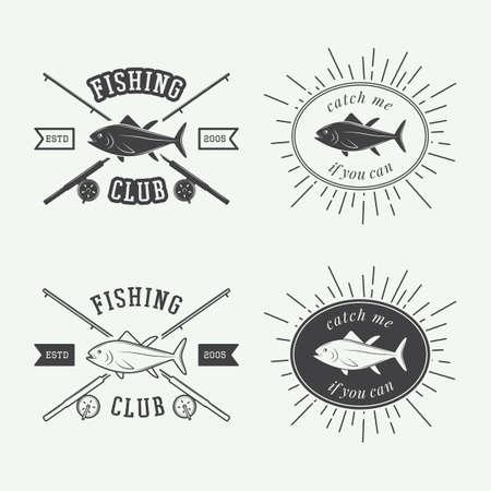 bass fishing: Set of vintage fishing labels badge and design elements Illustration