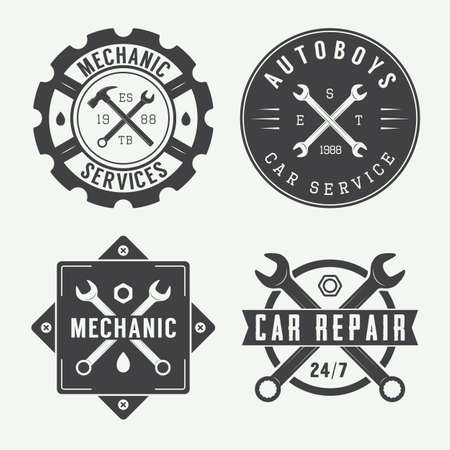 oil tool: Vintage mechanic label, emblem and logo. Vector illustration