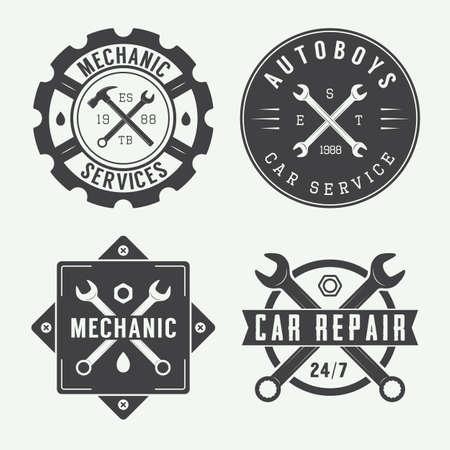 Weinlese-Mechaniker-Label, Emblem und Logo. Vektor-Illustration
