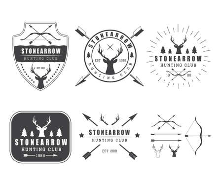 deer: Set of vintage hunting labels, badge and design elements