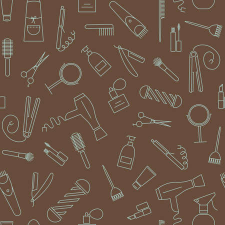 beauty shop: Beauty salon seamless pattern. Barber shop linear icons on brown background
