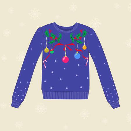 Kerstmis de hand getekende sweater met kerstversieringen Stock Illustratie