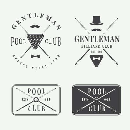 pool: Set Of Vintage Billiard Labels, Emblems