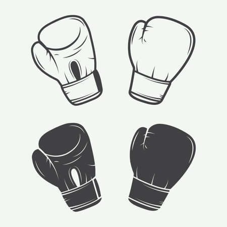 hand gloves: Boxing gloves in vintage style illustration
